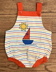 Vintage Healthtex Boys Sailboat Striped Summer Bubble Romper Size 6m EUC