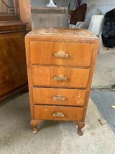 Vintage Small Brown Wooden Chest of 4 Drawers Bedroom Bathroom Kitchen