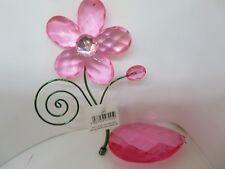 New 2 Deco Pink Jewel Suncatcher Hanging Ornaments- Flower + Large Gem