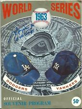 "Maury Wills Signed 1963 World Series Baseball Program ""63 WS Champs"" Dodgers JSA"