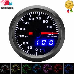 """52mm 2"""" Universal Car Oil Pressure Gauge 7 Colors LED PSI Oil Press Meter Sensor"""
