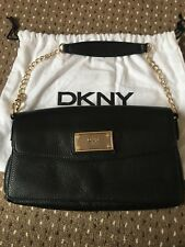 DKNY Small Black Pebbled Leather Shoulder Bag With Gold Tone Strap And Accents