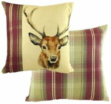 """EVANS LICHFIELD HEATHER HIGHLAND STAG HAND PAINTED ANIMALS CUSHION COVER 17"""""""
