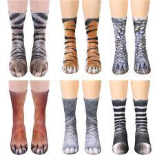 2 Pairs Unisex Women Men Adult Kids 3D Animal Print Sock Paw Crew Cotton Socks