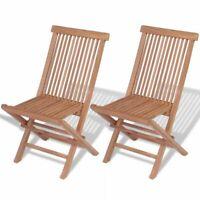 vidaXL 2x Patio Teak Folding Chairs Wood Outdoor Bistro Garden Seating Seat✓