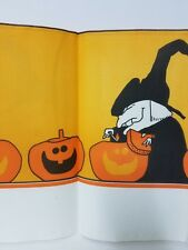 """Halloween Paper Tablecloth Artfaire Witch and Pumpkins 54"""" x 96"""" Unused"""