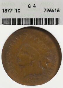 1877 1C ANACS G4 Indian Head Cent, Key Date Penny G04 Soapbox Holder