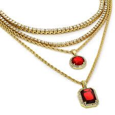"Set 24"" 30"" Rope & 20"" 24"" Tennis 14k Gold Plated High Fashion Mini Round Ruby"