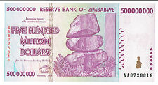 ZIMBABWE 500 MILLION DOLLARS 2008 UNC AA-series P82 * REGISTERED SHIPPING HERE