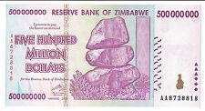 ZIMBABWE 500 MILLION DOLLARS 2008 UNC AA-series P82 * REGISTERED SHIPPING HERE