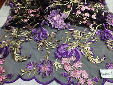 Amazing multicolor mesh flower lace fabric purple pink. Sold by the yard.
