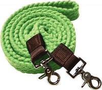 Showman LIME Flat Cotton Roping Reins with Scissor Snap Ends! New Horse Tack!