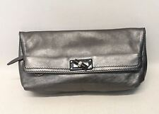 NEW LANVIN Ladies Chrome Coloured Leather Folded Rectangular Soft Clutch Handbag