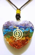 REIKI ENERGY CHARGED CHAKRA STONE HEART SHAPE ORGONE PENDANT WITH REIKI SYMBOL