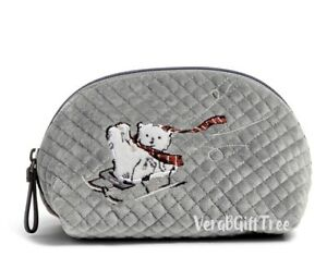 Vera Bradley Iconic Clamshell Cosmetic Case BEARY MERRY Polar Bears Large NWT