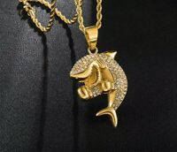 Gold Boxing Shark Iced Out Hip Hop Rhinestone Pendant Necklace - UK