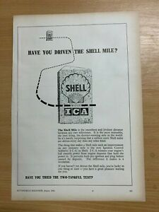 1954 SHELL WITH ICA (IGNITION CONTROL ADDITIVE) ORIGINAL VINTAGE ADVERT
