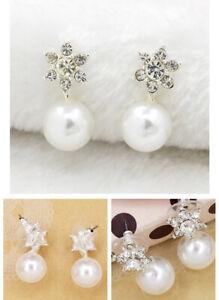Diamond Six-pointed Star Stud Sun Pearl Women's Earrings