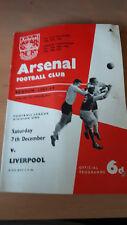 Football programme-saison 63/64 Div 1 Arsenal et Liverpool 7/12/63