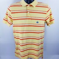 Brooks Brothers 1818 performance polo slim fit small yellow Orange striped blue