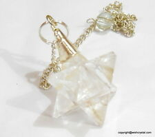 Natural Crystal Quartz Star Merkaba Pendulum With Dowsing Chain For Healing