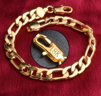 "18k Yellow Gold Mens Women Curb Link Chain Bracelet 7"" 71/2"" 8"" 9"" 10"" Size D698"