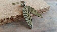 Bronze Leaf earrings, long dangle, antique brass, fashion jewelry, usa seller