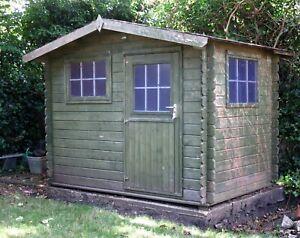 10 x 6ft Apex Garden Shed Log Cabin Office Workshop Summerhouse - Good Condition