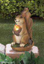 "SQUIRREL acorn nut animal outdoor 7"" statue lantern LED path SOLAR light lamp"