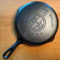 Vintage GRISWOLD Cast Iron SKILLET Frying Pan #6 LARGE BLOCK LOGO Fully RESTORED