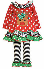 Bonnie Jean Girls Christmas Rudolph Reindeer Holiday Tunic Pants Outfit 4T New
