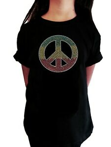 """Girls Rhinestone T-Shirt """" Colorful Peace Sign """" in All Sizes"""
