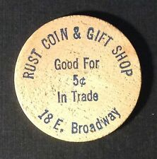 RUST COIN & GIFT SHOP Good For 5 Cents in Trade Wooden Nickel