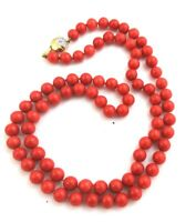 """Vintage 14k Gold Diamond 50Ct 7.mm Beaded Sardinian Coral Necklace 26"""" 52.2gms"""
