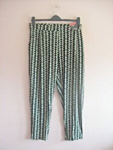 M&S Size 18 Reg Black Cream Print Stretch Taper Leg Elasticated Casual Pants NEW