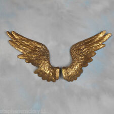 Large Pair of Decorative Antique Gold Angel Wings Wall Hangings - 58cm Wide Each