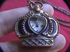 """rumors crown watch necklace 1-1/4 """"- 1-1/4"""" x 30"""" chain USA movement works"""