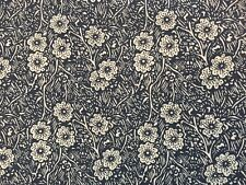 """i2 1 yd x 42"""" Vintage Fabric Navy Blue White Flowers Sketched Nature Cotton"""