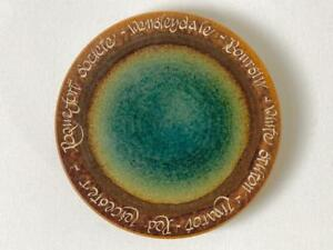 Christine Bull Meadowcroft Pottery Cheese Plate Green Lustre Brown Names of