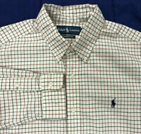 Polo Ralph Lauren Ivory Check Button Shirt Classic Fit Mens Size Large Pony
