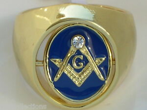 Turn Swivel Blue / Red Enamel Clear Crystal Stone Mason Masonic Men's Ring 9