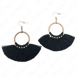 Small southeast earrings with tassels. Short soutache earrings with tassels Small black earrings with tassels