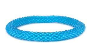 """Sashka Co Reg 6-8"""" BLUE Glass Beaded BRACELET Fair Trade Nepal G18 + Gift Wrap"""