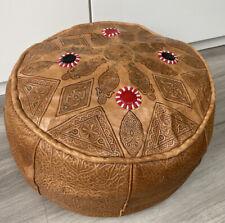 VINTAGE MOROCCAN  Mid-Century Handmade Soft Leather Pouffe Ottoman Footstool