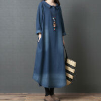Lady Denim Dress Peter Pan Collar Long Sleeve Long Pullover Casual Loose Ethnic