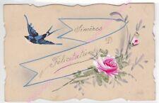 CPA  FANTAISIE Sincères félicitations hirondelle fleurs
