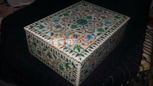 White Marble Top Jewelry Vintage Lidded Box Malachite Marquetry Fine Floral Arts