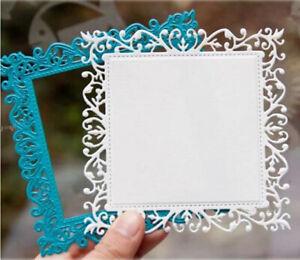 Metal Cutting Dies Lace Leaf Vine Square Frame DIY Scrapbook Paper Craft Stencil