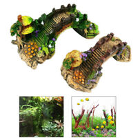 Aquarium resin bridge landscape tank ornaments fish pavilion tree decoration FT