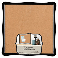 "Quartet Bulletin Board, Cork, 14"" x 14"", Home Organization, Black Frame 50722"